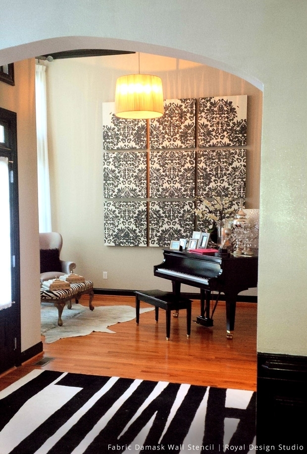 A Shimmery Damask Stencil Wall Art – Paint + Pattern For Damask Fabric Wall Art (Image 3 of 15)