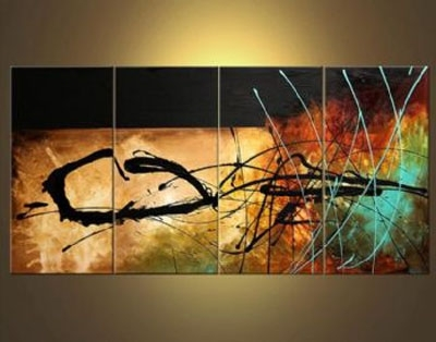 A Signal From Earth Abstract Oil Canvas Painting Wall Art With In Abstract Oil Painting Wall Art (Image 4 of 15)