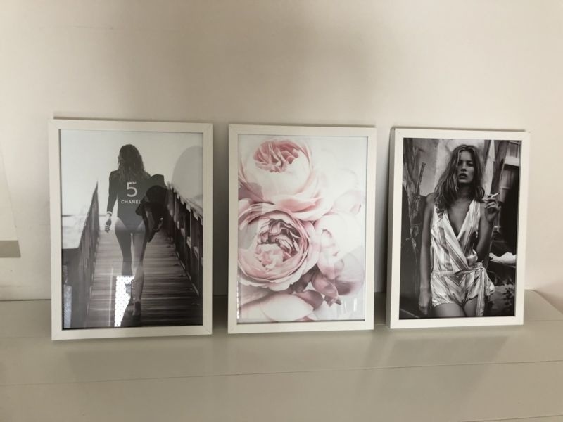 A3 Art Prints Gisele Surfboard Chanel, Kate Moss Pink Peonies Pertaining To Gold Coast Framed Art Prints (Image 2 of 15)