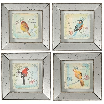 A&b Home – S/4 Simeon Bird Prints Lg With Birds Framed Art Prints (Image 3 of 15)