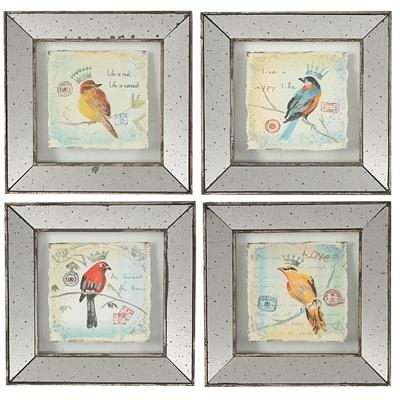 A&b Home – S/4 Simeon Bird Prints Lg With Birds Framed Art Prints (Image 3 of 15)
