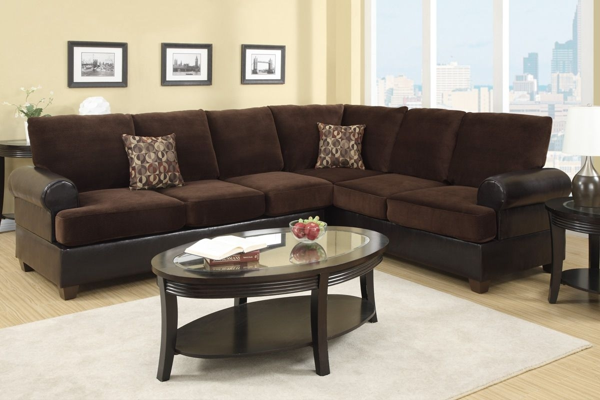 Abbas Chocolate Microsuede Sectional Sofa – Steal A Sofa Furniture Throughout Chocolate Sectional Sofas (View 10 of 10)