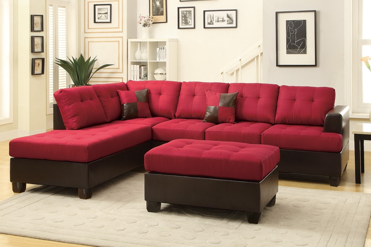 Abby Red Sectional Sofa W/ Ottoman Inside Red Sectional Sofas With Ottoman (Image 1 of 10)