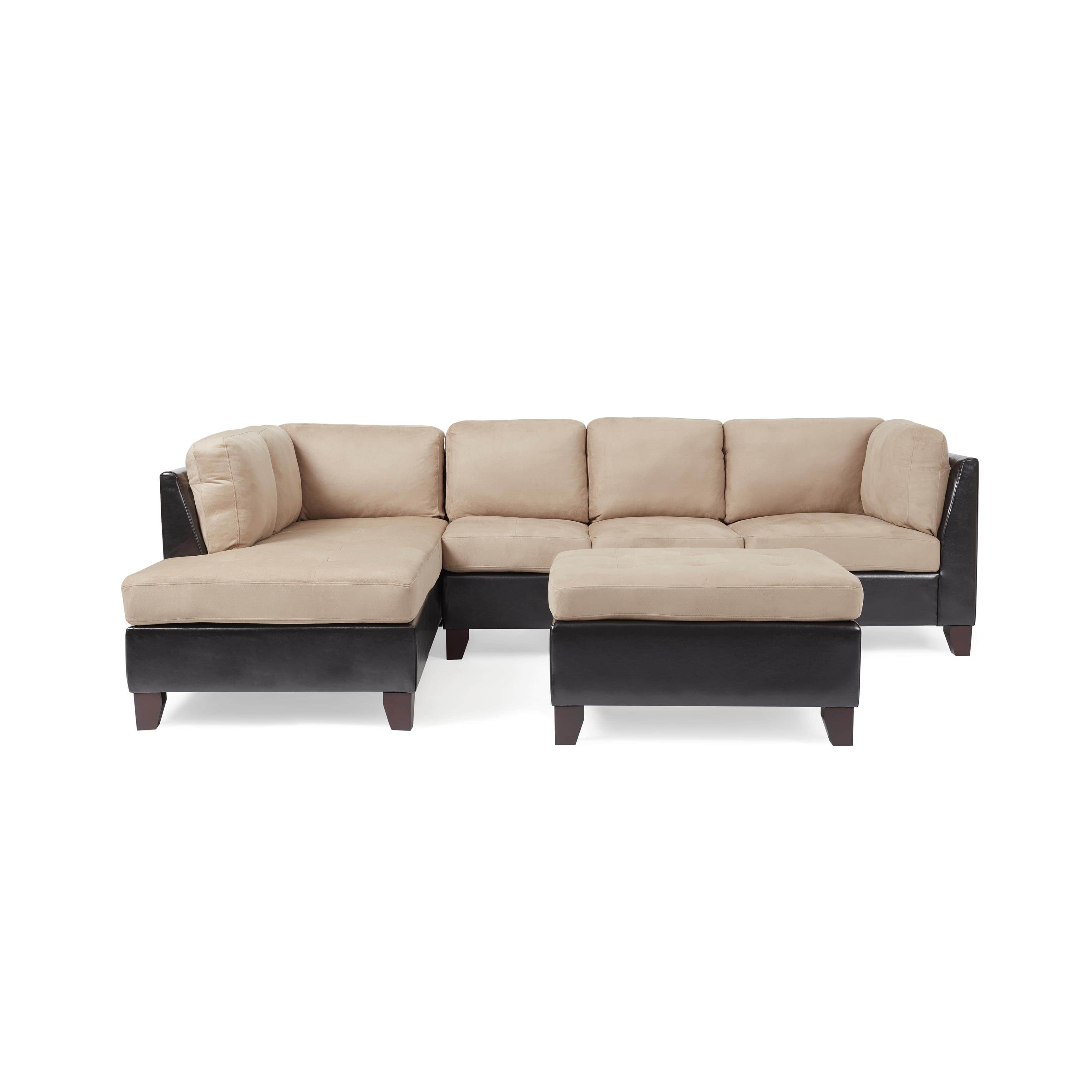 Abbyson Charlotte Beige Sectional Sofa And Ottoman – Free Shipping Pertaining To Charlotte Sectional Sofas (View 9 of 10)
