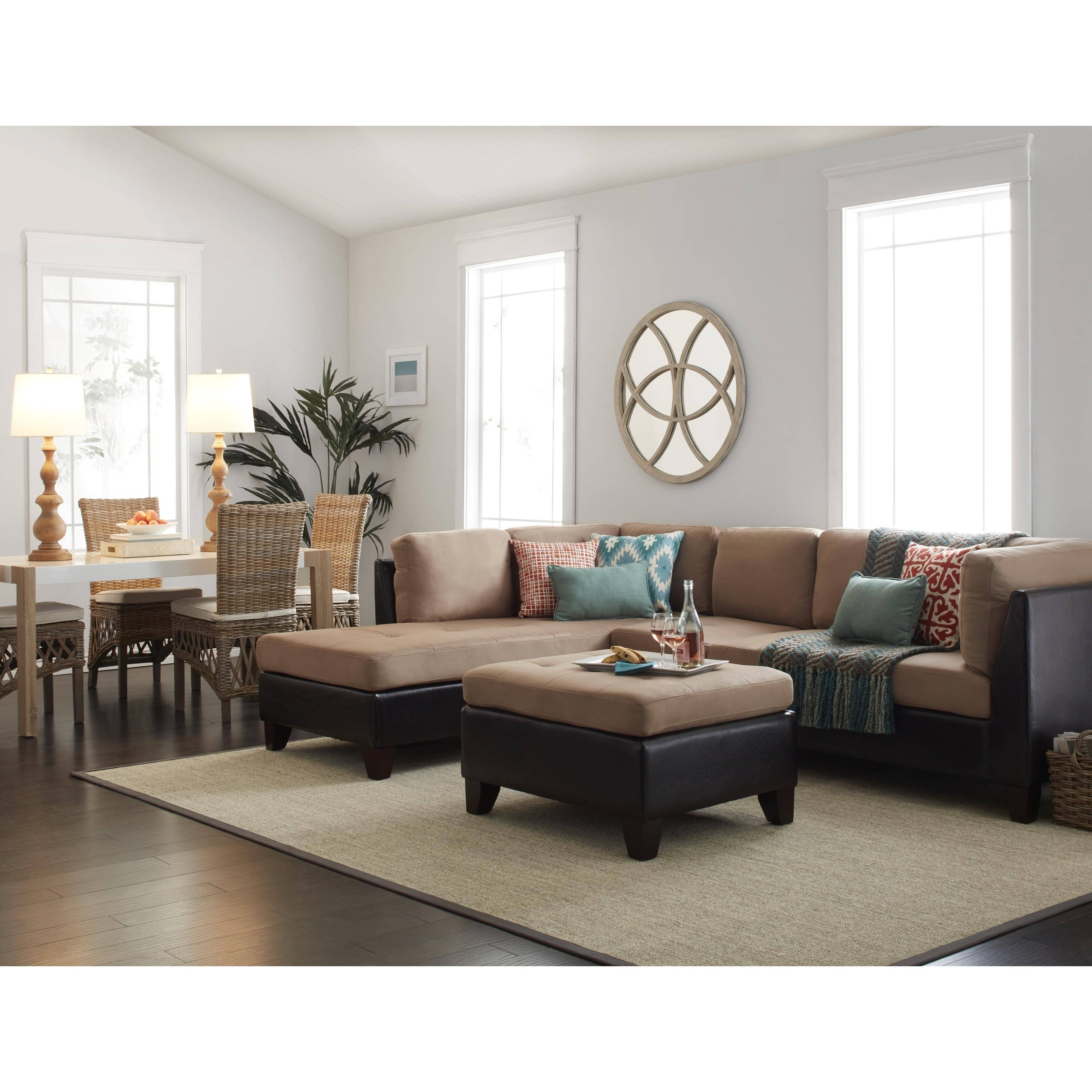 Abbyson Charlotte Beige Sectional Sofa And Ottoman – Free Shipping Within Charlotte Sectional Sofas (View 8 of 10)