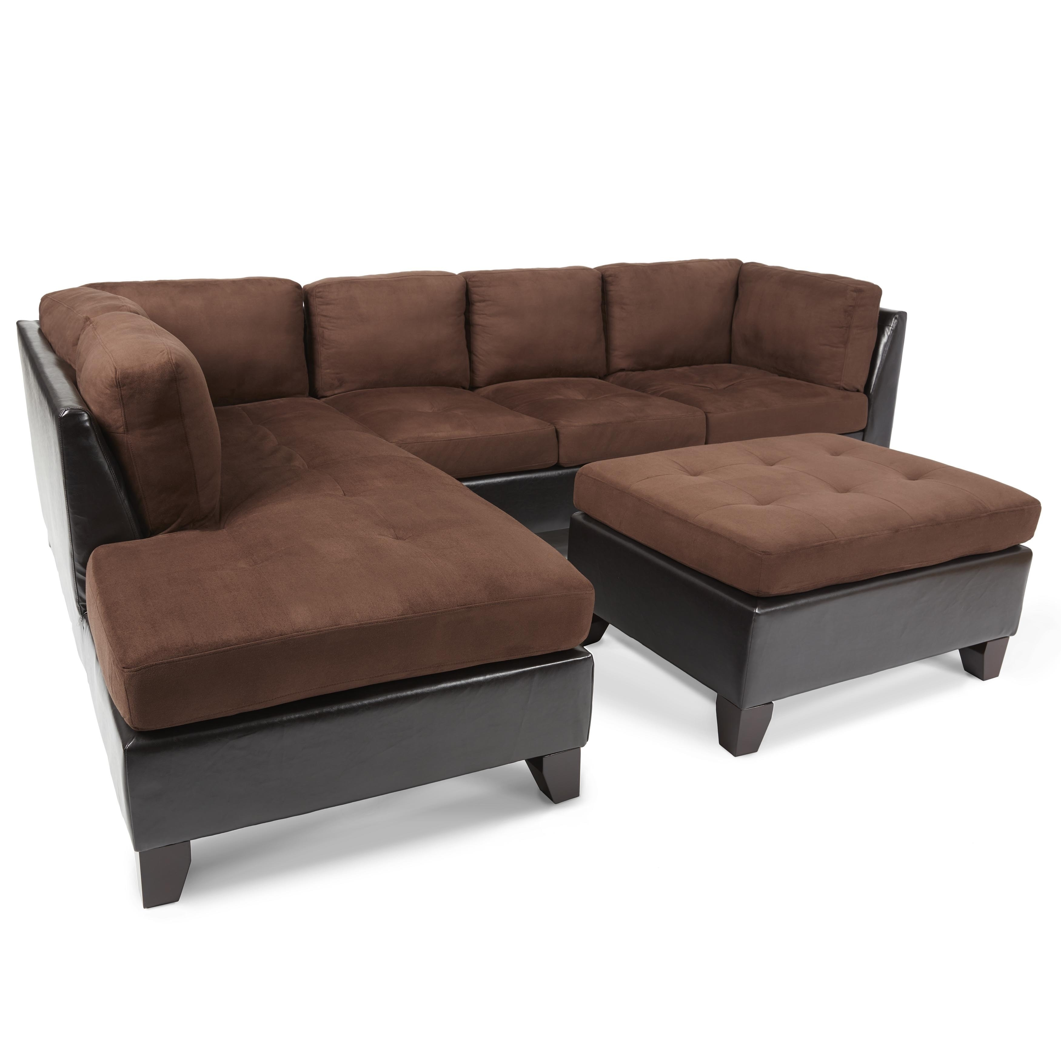 Abbyson Charlotte Dark Brown Sectional Sofa And Ottoman – Free With Charlotte Sectional Sofas (View 10 of 10)