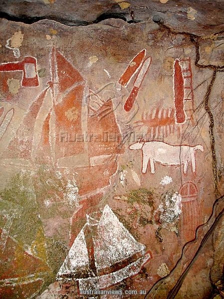 Aboriginal Rock Art Depicting European Ships, Bathurst Head In Queensland Canvas Wall Art (View 12 of 15)