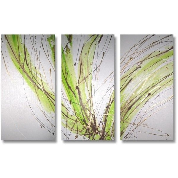 Abstract Art Canvas Painting White Lime Green Brown Gold (Image 3 of 15)