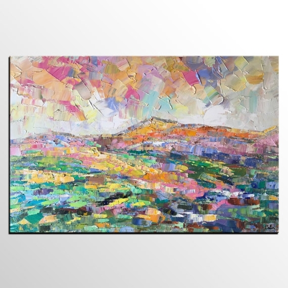 Abstract Art Painting, Abstract Mountain Landscape Painting, Extra With Abstract Landscape Wall Art (Image 2 of 15)