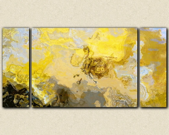 Abstract Art Print Triptych Oversize Canvas Print, 30X60 To 40X78 With Regard To Yellow And Grey Abstract Wall Art (Image 1 of 15)