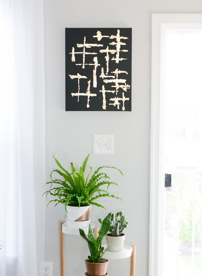 Abstract Black And Gold Leaf Canvas Art With Abstract Leaves Wall Art (Image 2 of 15)
