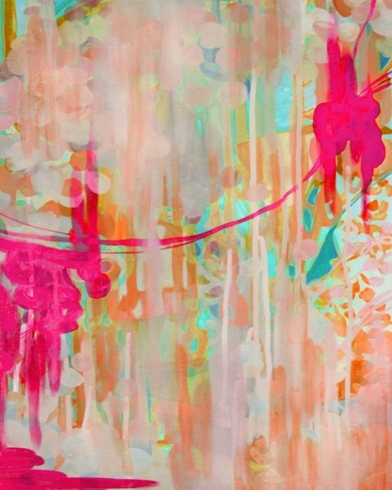 Abstract Bright Painting Colorful Painting Pink Green Abstract With Regard To Abstract Neon Wall Art (View 3 of 15)