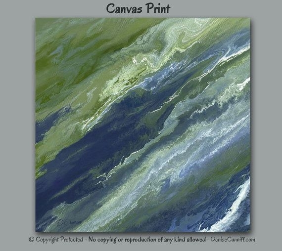 Abstract Canvas Wall Art, Navy Blue Olive Green Sage Slate, Office Within Olive Green Abstract Wall Art (View 8 of 15)