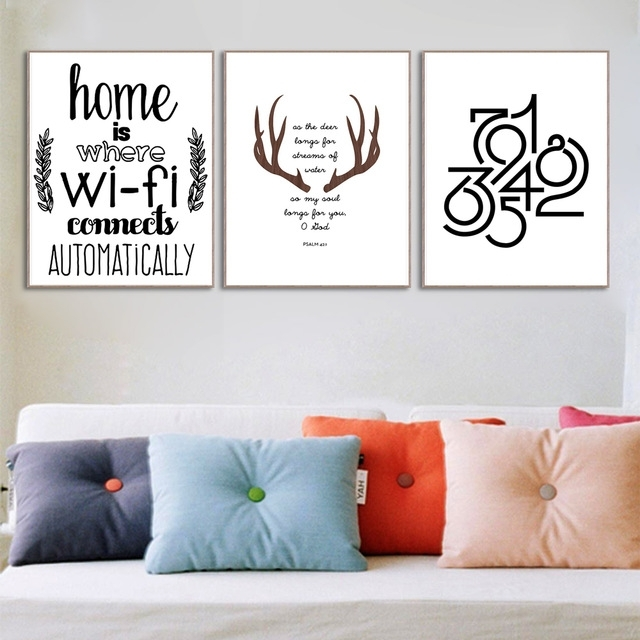 Abstract Deer Home Wifi Quotes Large Canvas Art Print Poster Wall Inside Large Canvas Wall Art Quotes (View 12 of 15)