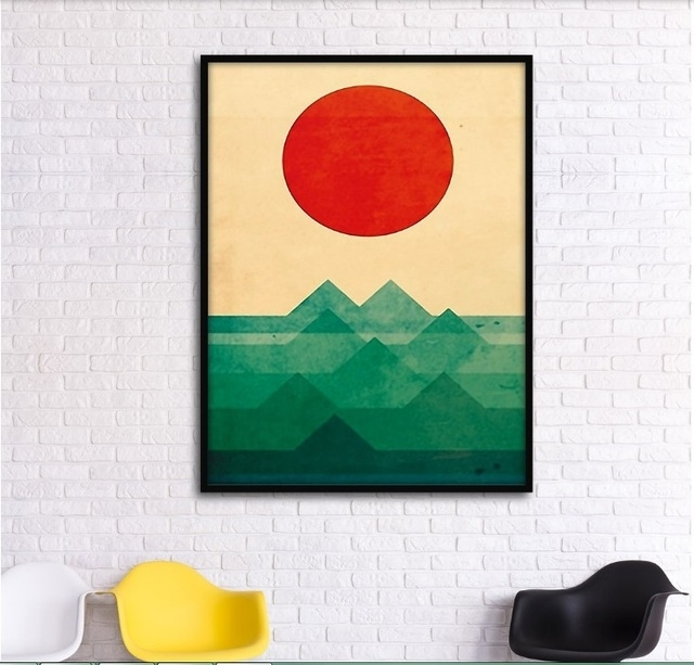 Abstract Graphic Combination Mountains Decorative Paintings Inside Abstract Graphic Wall Art (View 11 of 15)