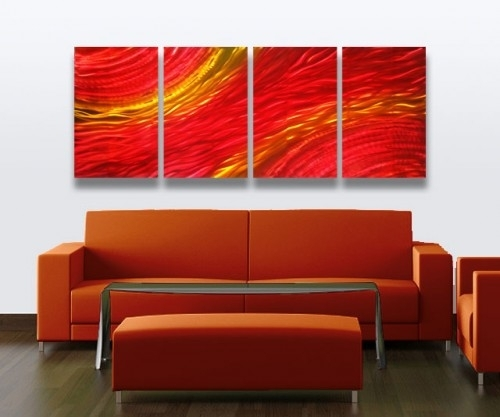 Abstract Metal Wall Art Sculpture Modern Decor Sunset | Milesshay Intended For Abstract Metal Wall Art Painting (Image 3 of 15)