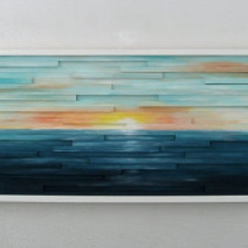 Abstract Ocean Landscape Scenery – Wood From Modernrusticart On Throughout Abstract Ocean Wall Art (Image 2 of 15)