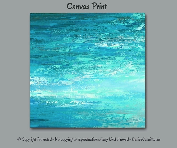 Abstract Painting Canvas Print, Large Wall Art Square, Coastal For Abstract Ocean Wall Art (Image 3 of 15)