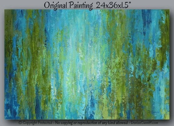 Abstract Painting, Large Canvas Art, Olive Green, Blue, Teal Home In Olive Green Abstract Wall Art (View 7 of 15)