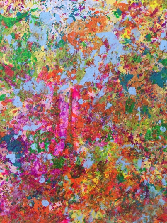 Abstract Painting Modern Wall Art Neon Wall Art Expressionist Wall Throughout Abstract Neon Wall Art (Image 11 of 15)