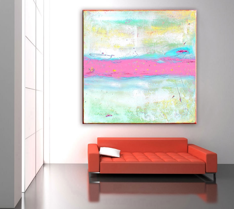 Abstract Painting Print, Abstract Art Pink Painting, Large Canvas Pertaining To Pastel Abstract Wall Art (View 9 of 15)