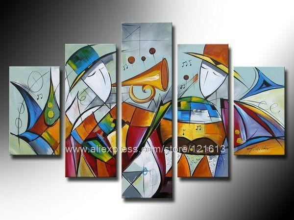 Abstract Wall Art Group Painting On Canvas Home Decor Wall Hanging Pertaining To Abstract Art Wall Hangings (Image 3 of 15)