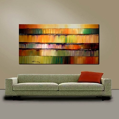 Abstract Wall Art Large 24X48 Original Painting Modern Impasto Within Huge Abstract Wall Art (Image 3 of 15)