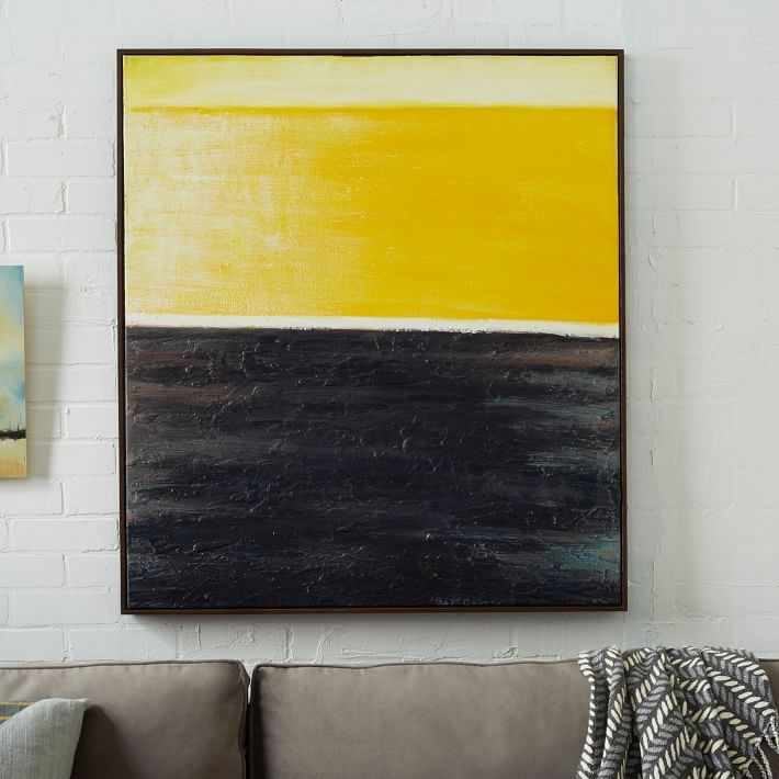 Abstract Wall Art Yellow | West Elm Throughout Abstract Wall Art Regarding Yellow And Grey Abstract Wall Art (Image 2 of 15)