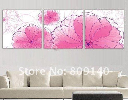 Abstract White Purple Rose Flower Oil Painting Canvas Modern In Pink Canvas Wall Art (Image 1 of 15)