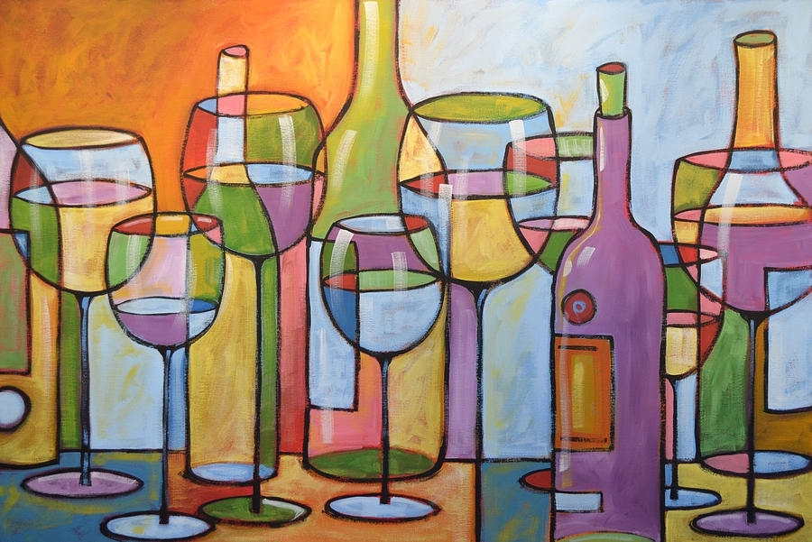Abstract Wine Dining Room Bar Kitchen Art  Time To Relax Intended For Abstract Kitchen Wall Art (Image 6 of 15)