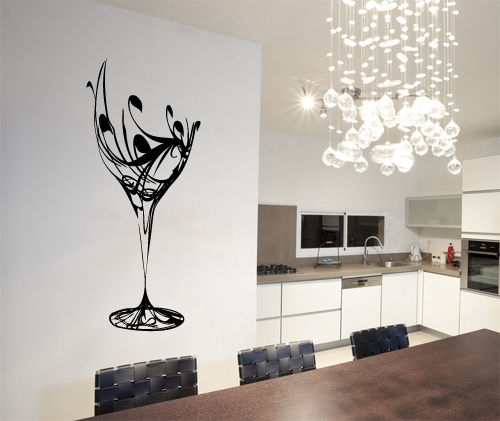 Abstract Wine Glass Wall Art Vinyl Stickers Kitchen Dining With Regard To Abstract Kitchen Wall Art (Image 7 of 15)