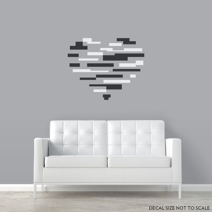 Abstract Heart Wall Decal Sticker Intended For Abstract Heart Wall Art (View 9 of 15)