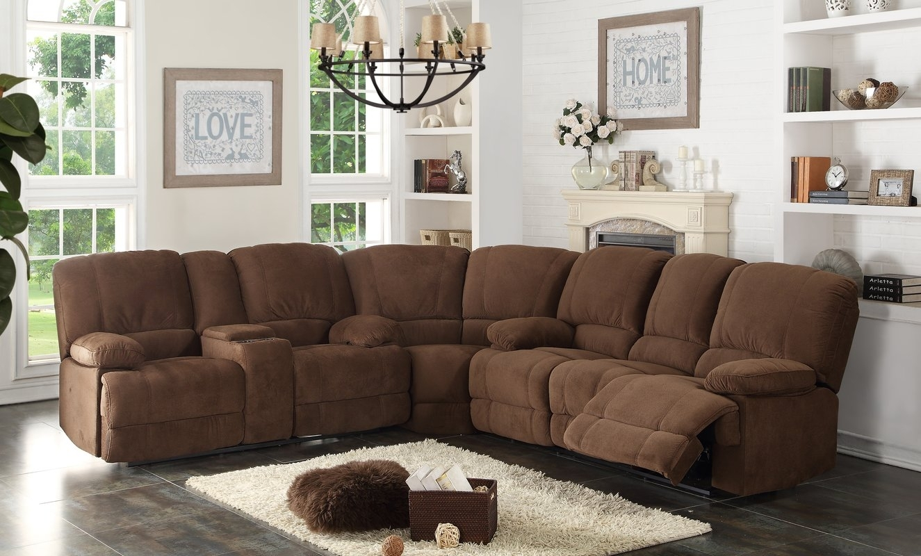 Ac Pacific Kevin Reclining Sectional & Reviews | Wayfair Inside Sectional Sofas In Stock (Image 2 of 10)