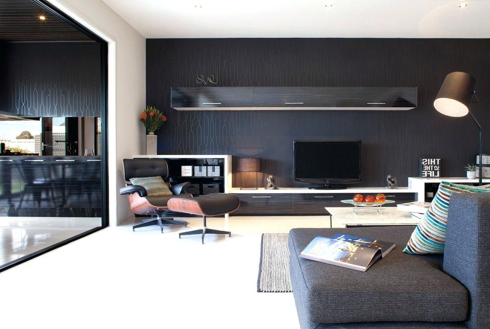 Accent Wall Behind Tv Wallpaper Behind Living Room Contemporary Pertaining To Wall Accents Behind Tv (View 7 of 15)