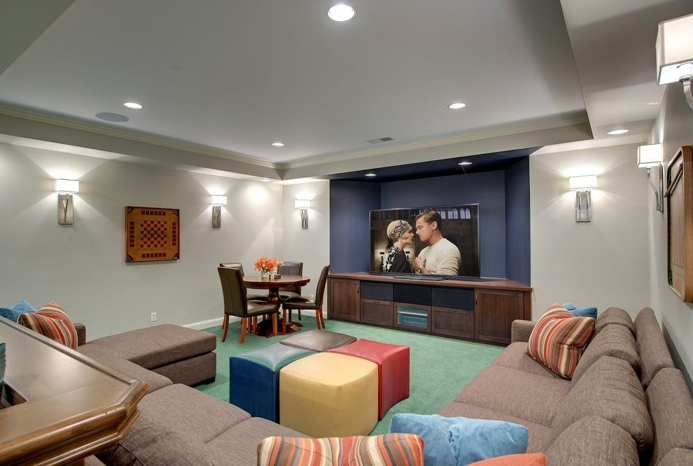 Accent Wall In Basement Basement Contemporary With Two Blade Pertaining To Basement Wall Accents (Image 3 of 7)
