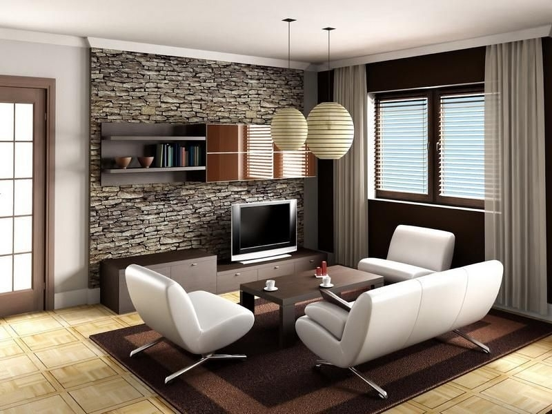Accent Wall Living Room Finished Basement Ideas Stone Wall Design Pertaining To Basement Wall Accents (View 3 of 7)