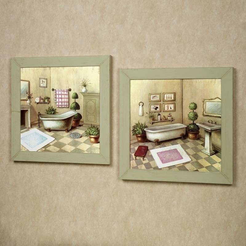 Accessories For Bathroom Decoration Using Vintage Retro Bathroom Within Vintage Bath Framed Art Prints Set Of (View 5 of 15)