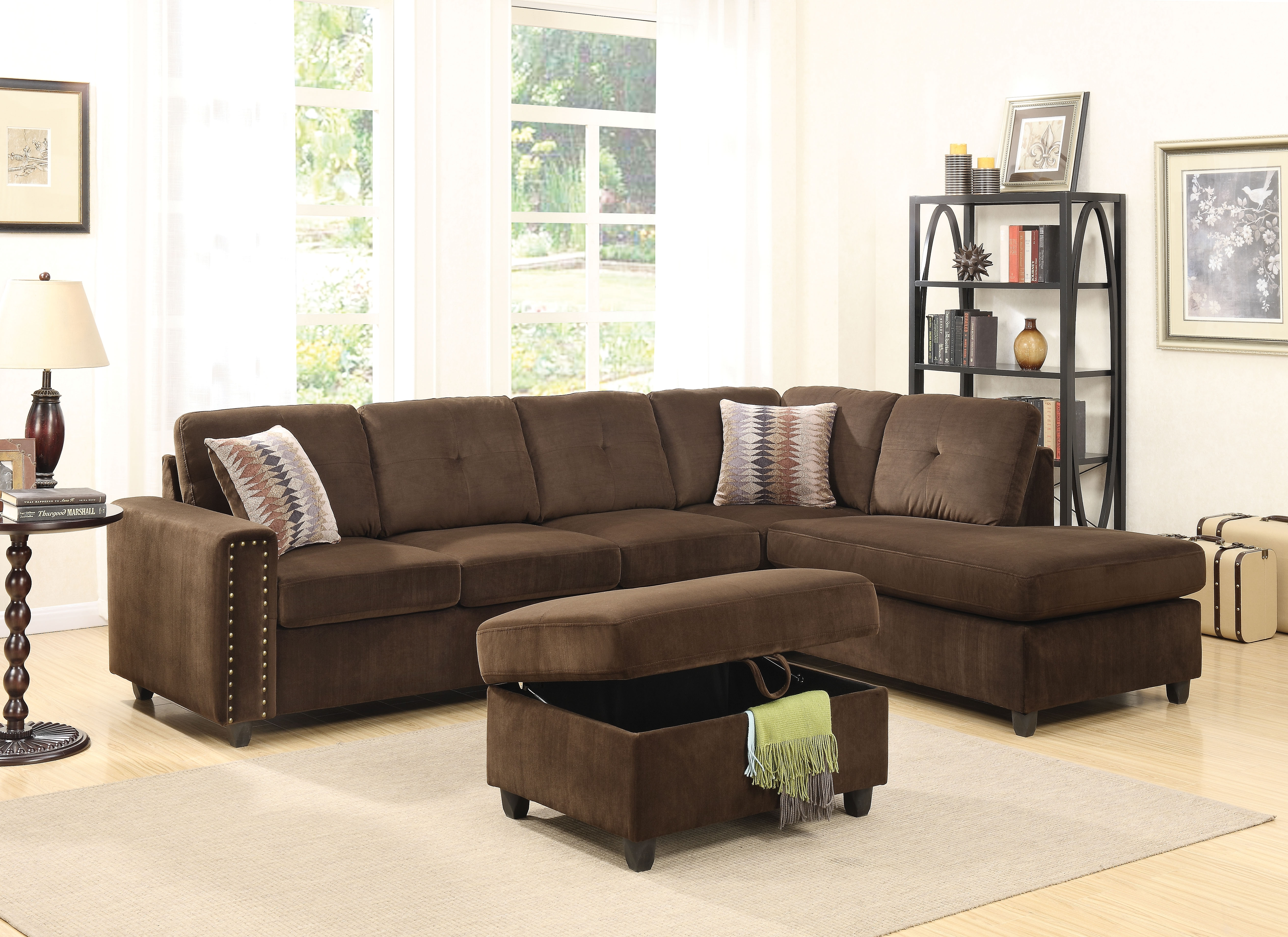 Acme Belville Reversible Sectional Sofa With 2 Pillows, Chocolate With Chocolate Sectional Sofas (Image 2 of 10)