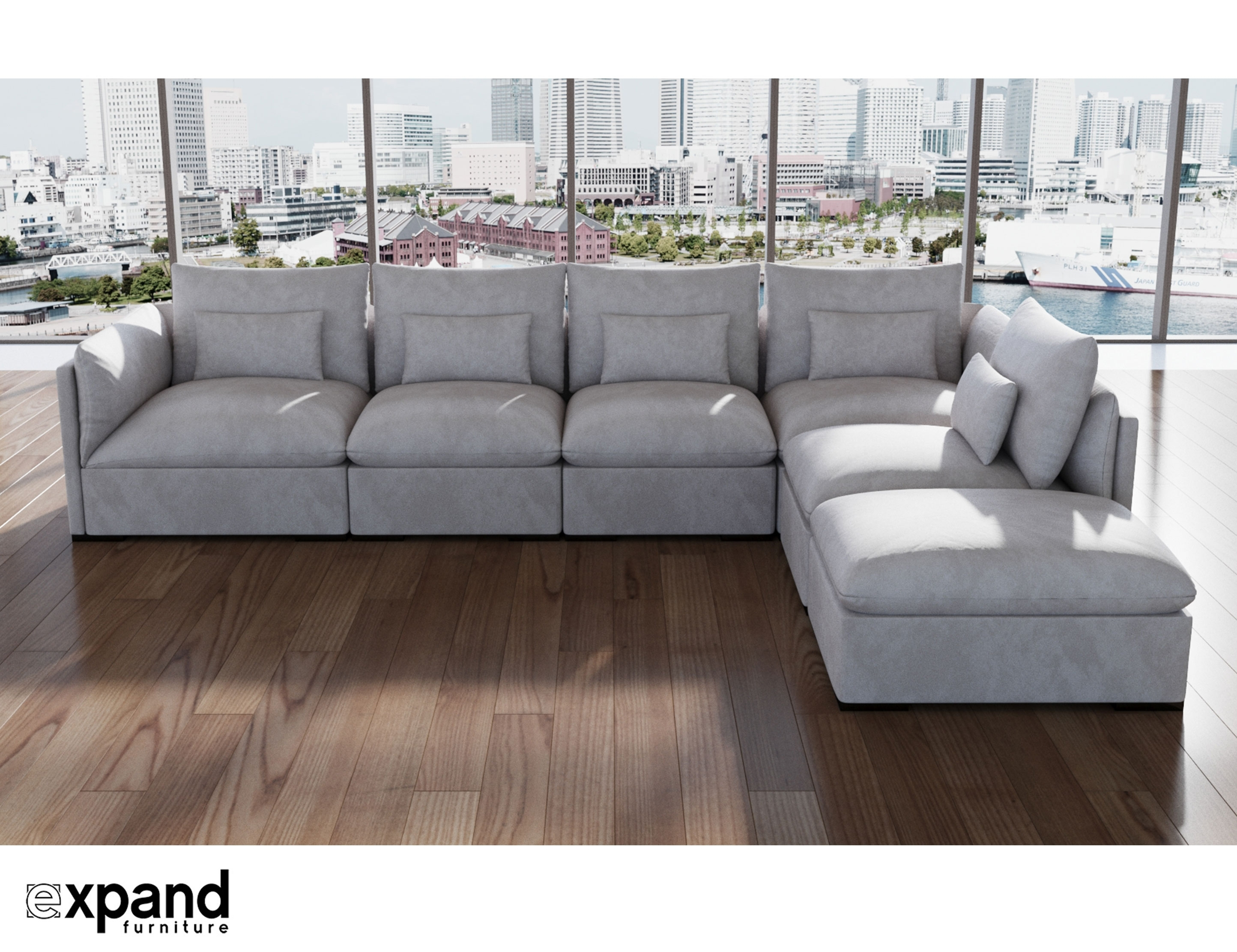 Adagio: Luxury Sectional Modular Sofa Set Of 4 | Expand Furniture Intended For Down Feather Sectional Sofas (Image 1 of 10)