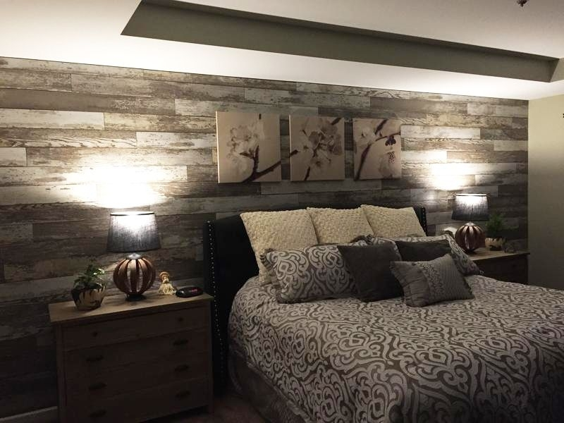 Added Laminate Flooring To Bedroom Wall To Give The Room A With Regard To Wall Accents With Laminate Flooring (Image 3 of 15)