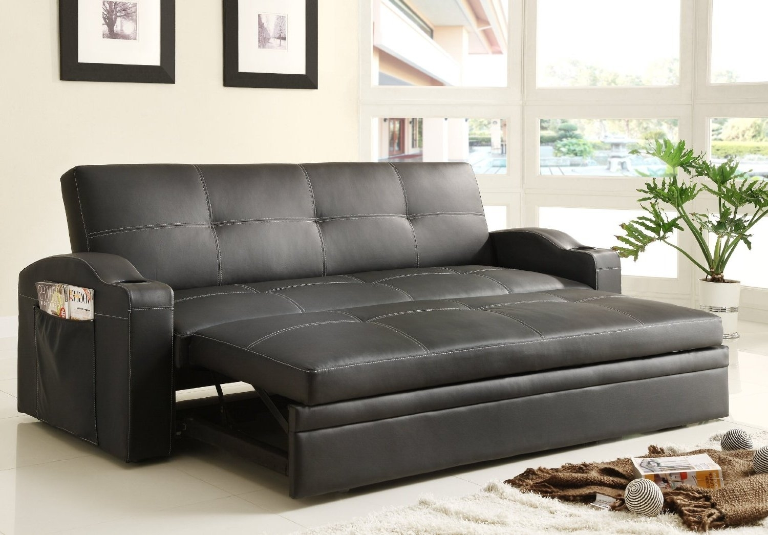 Adjustable Queen Size Sofa Bed Black Color Upholstered In Black Bi Intended For Adjustable Sectional Sofas With Queen Bed (Image 1 of 10)