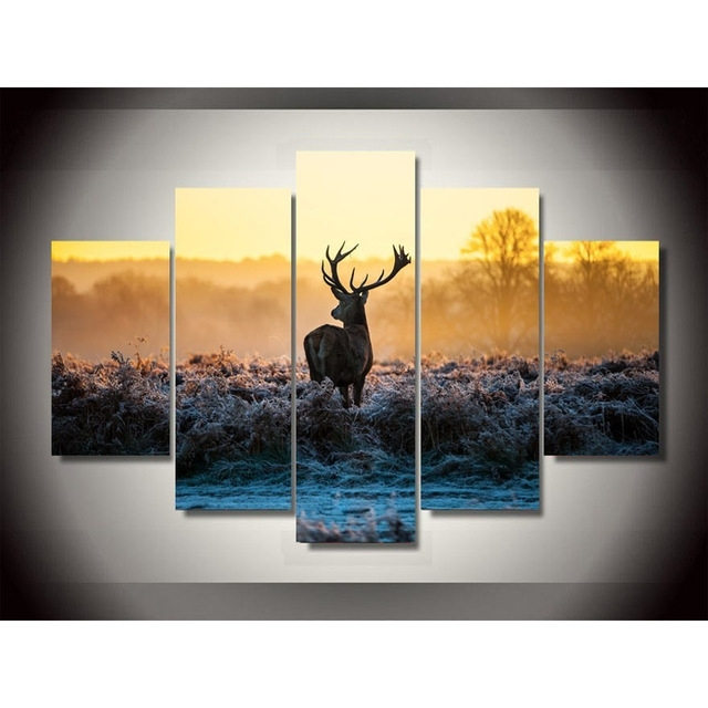 Africa Animal Deer Canvas Painting Pictures On The Wall Print In Deer Canvas Wall Art (View 7 of 15)