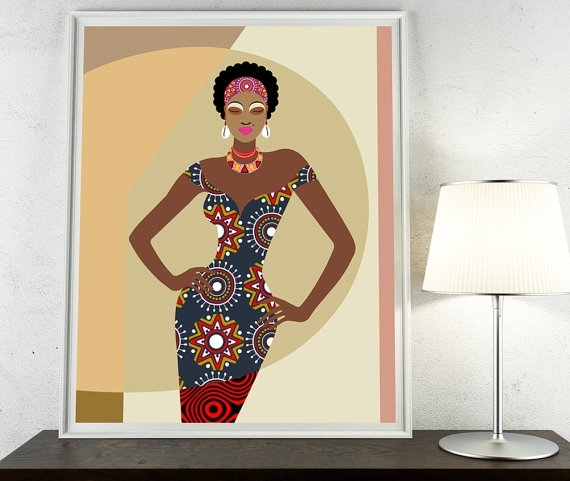 African Artwork, African Painting, African Woman, African Wall Within Fabric Dress Wall Art (View 6 of 15)