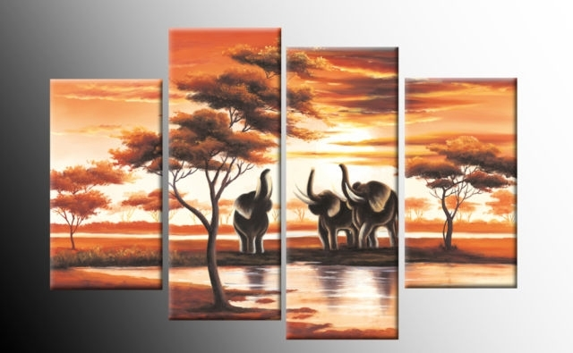 African Elephants Trumpet Canvas Sunset Landscape Wall Art 4 Panel For Orange Canvas Wall Art (View 6 of 15)