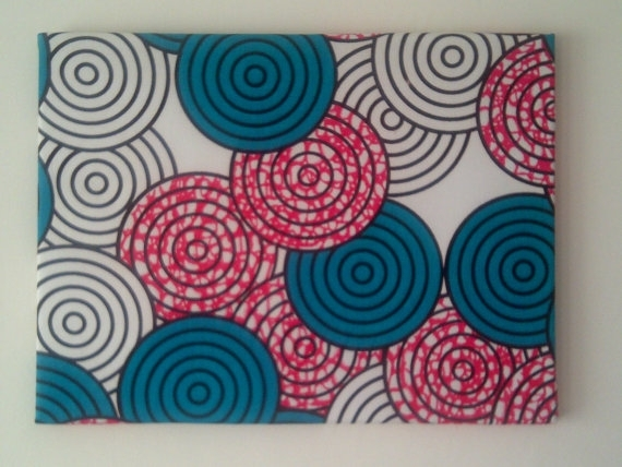 African Fabric Wall Decor, Fuchsia Teal Geometric Nursery Retro Pertaining To Fabric Circle Wall Art (Image 4 of 15)
