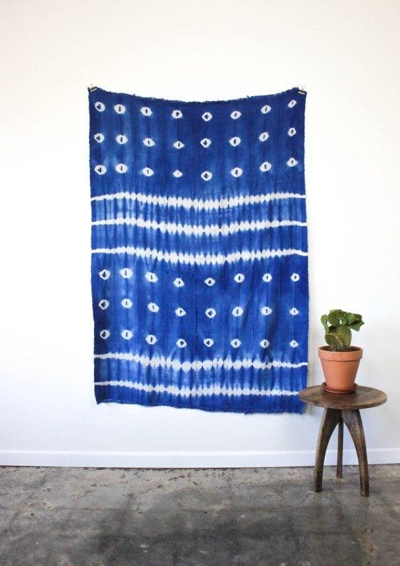 African Indigo Blue Shibori Vintage Textile (View 15 of 15)