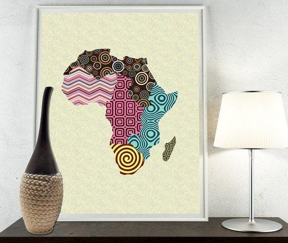 African Print Map Decor, African Wall Art, African Map Art With African Fabric Wall Art (View 5 of 15)