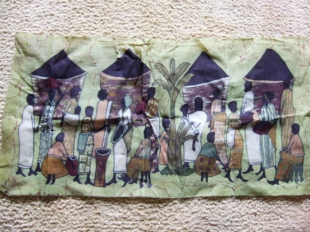African Village Life Batik Textile Art Print Cloth Fabric Wall Pertaining To Batik Fabric Wall Art (Image 5 of 15)