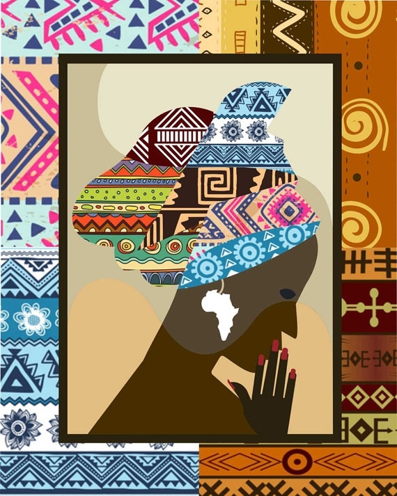 African Woman, African Print, African Wall Decor, African Wall Art In African Fabric Wall Art (View 13 of 15)