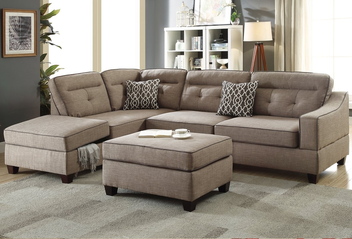 Alcott Hill Sarah Reversible Sectional With Ottoman & Reviews | Wayfair Intended For Cheap Sectionals With Ottoman (View 7 of 10)